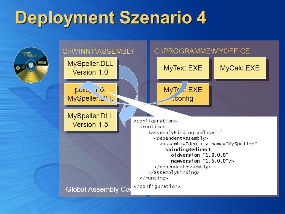 Deployment Szenario 4 Global Assembly Cache C:\WINNT\ASSEMBLY Applikationsverzeichnis C:\PROGRAMME\MYOFFICE C:\PROGRAMME\MYOFFICE\TOOLS MyCalc.EXE MyT