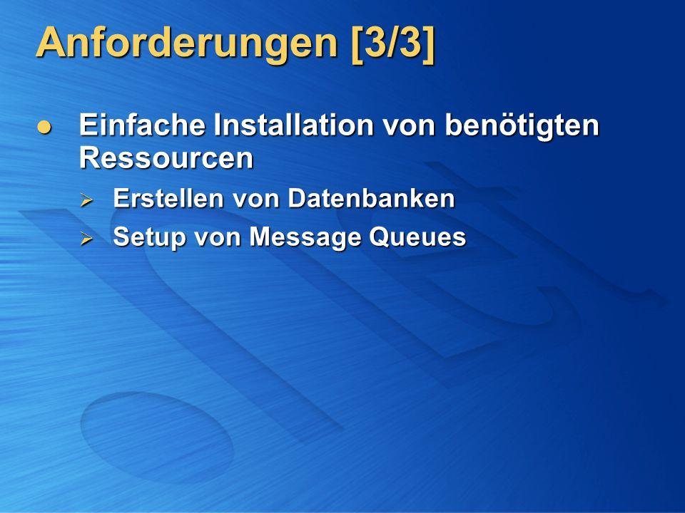 Anforderungen [3/3] Einfache Installation von benötigten Ressourcen Einfache Installation von benötigten Ressourcen Erstellen von Datenbanken Erstelle