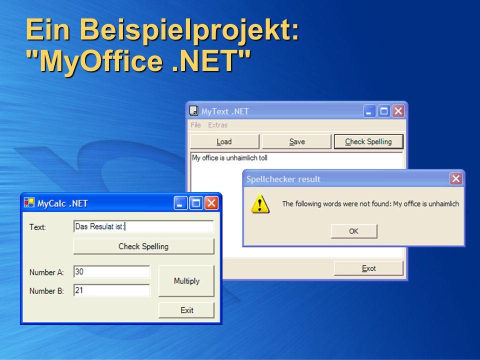MyOffice -Komponenten MyText und MyCalc MyText und MyCalc Textverarbeitung und Tabellenkalkulation Textverarbeitung und Tabellenkalkulation .NET WinForms-Applikationen (EXE).NET WinForms-Applikationen (EXE) MySpeller MySpeller Rechtschreibprüfung Rechtschreibprüfung .NET Klassenbibliothek (DLL).NET Klassenbibliothek (DLL) Gemeinsam genutzte Komponente – wird von MyText und MyCalc referenziert Gemeinsam genutzte Komponente – wird von MyText und MyCalc referenziert