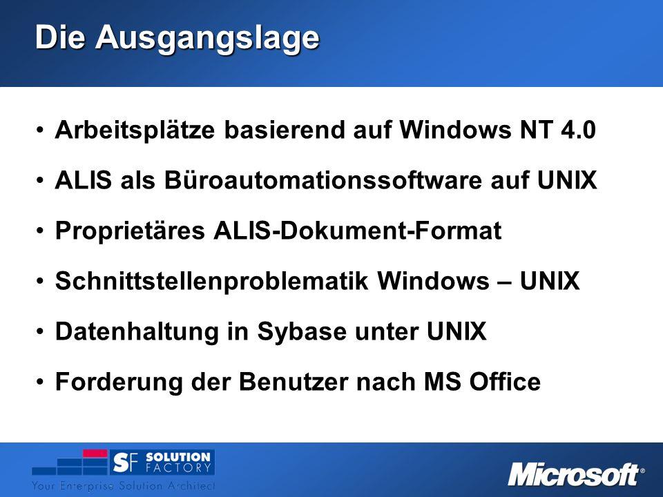 Die Ausgangslage Arbeitsplätze basierend auf Windows NT 4.0Arbeitsplätze basierend auf Windows NT 4.0 ALIS als Büroautomationssoftware auf UNIXALIS al