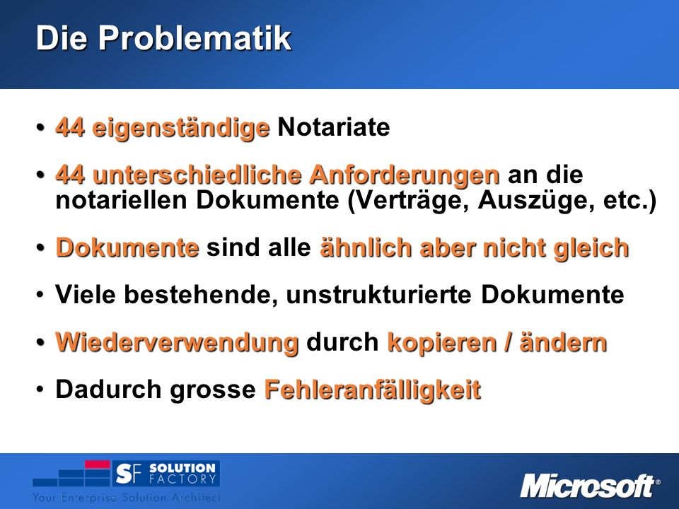 Die Problematik 44 eigenständige Notariate44 eigenständige Notariate 44 unterschiedliche Anforderungen an die notariellen Dokumente (Verträge, Auszüge
