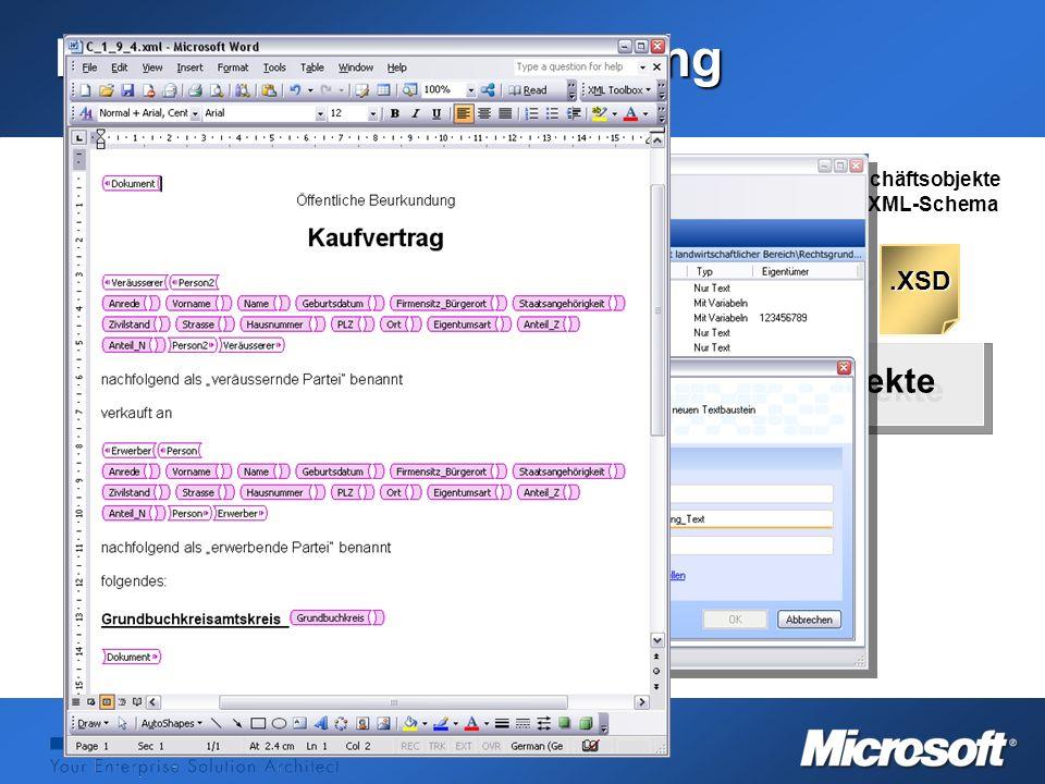 Word 2003 Die Textbausteinerstellung TVS-OfficeTVS-Office.XSD Geschäftsobjekte als XML-Schema Textbaustein WordML Speicherung in TVS-Office Geschäftso