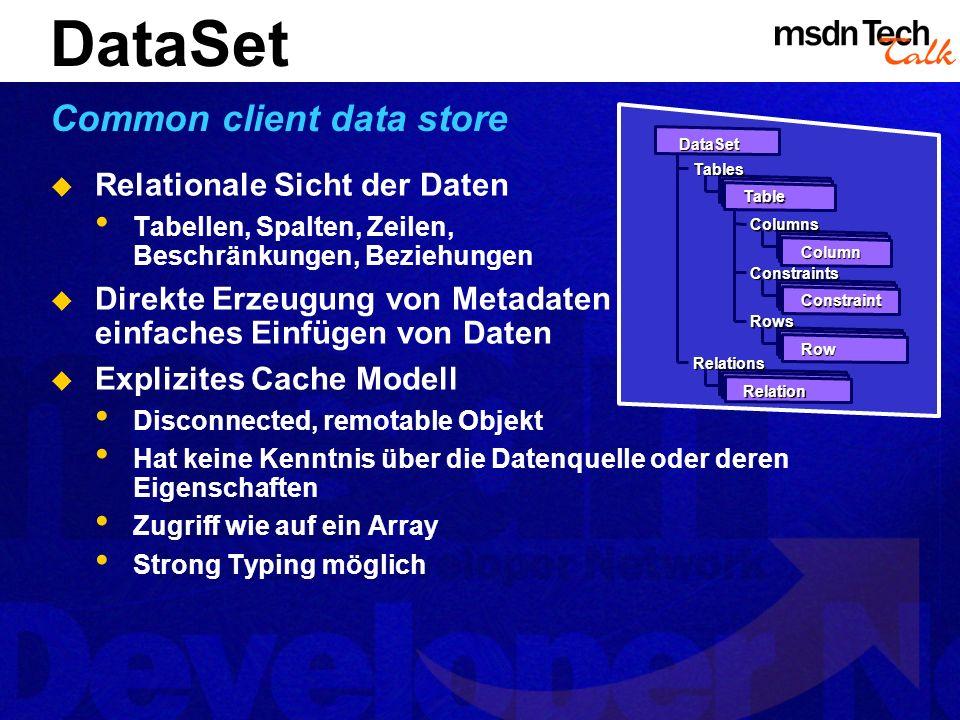 DataSet Common client data store Relationale Sicht der Daten Tabellen, Spalten, Zeilen, Beschränkungen, Beziehungen Direkte Erzeugung von Metadaten ei