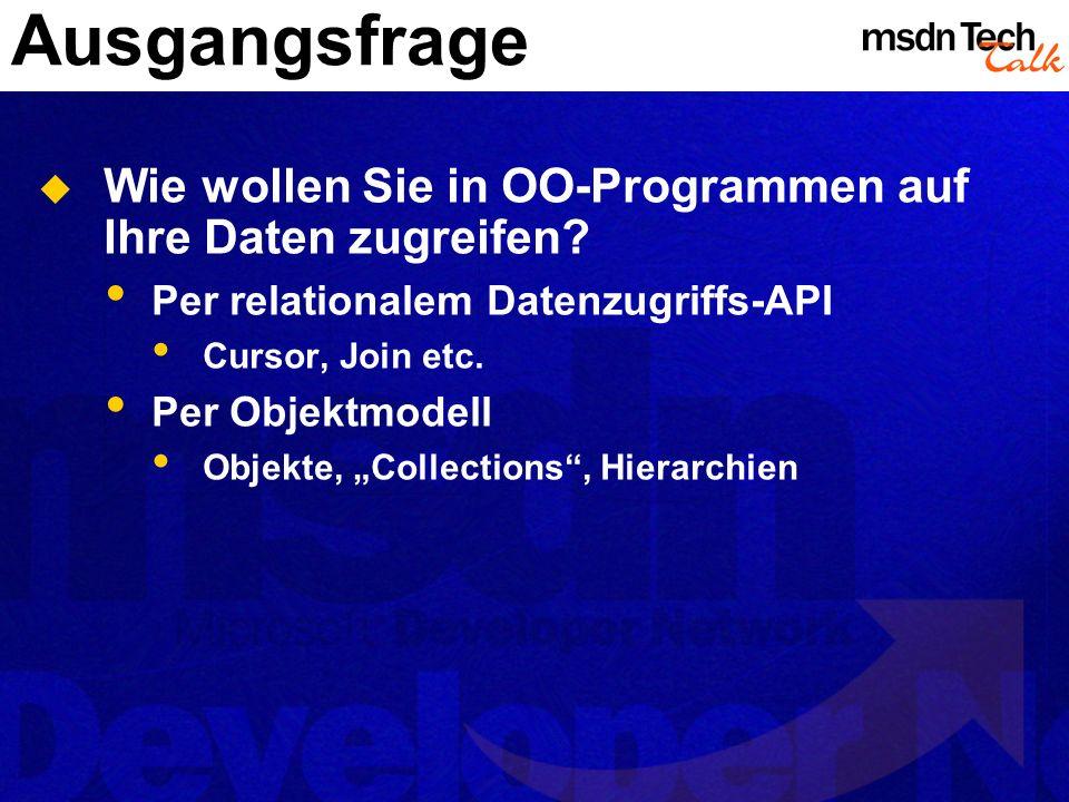 Ausgangsfrage Wie wollen Sie in OO-Programmen auf Ihre Daten zugreifen? Per relationalem Datenzugriffs-API Cursor, Join etc. Per Objektmodell Objekte,
