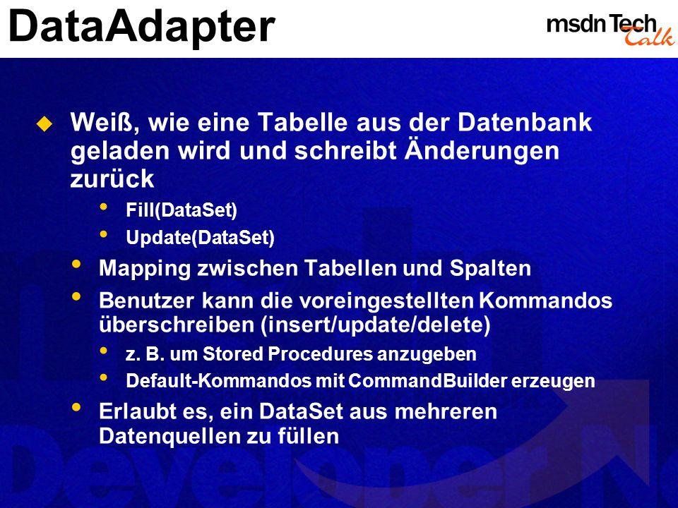 DataAdapter Weiß, wie eine Tabelle aus der Datenbank geladen wird und schreibt Änderungen zurück Fill(DataSet) Update(DataSet) Mapping zwischen Tabell