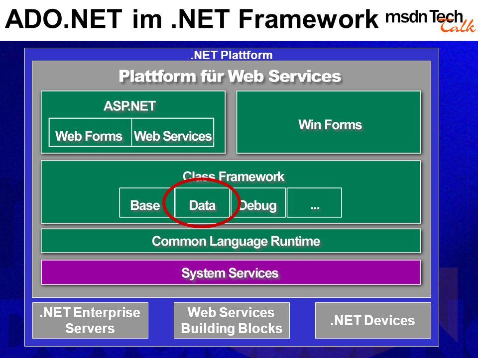 ADO.NET Architektur Managed Provider Data- Adapter DataReader Command Connection XmlReader XmlText-ReaderXmlNode-Reader XmlDocument TextReader String Stream Stream … … myDataSet Item Cust Order Web/Windows Form Controls VS.NET Designers VS.NET Class Generator
