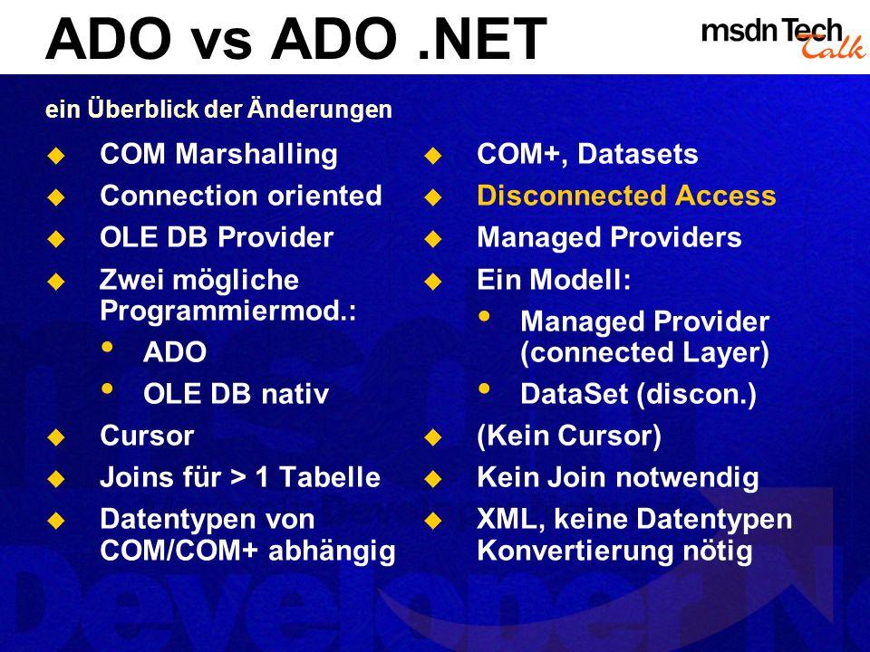 Managed Providers Interaktion mit Datenquellen managen Äquivalent des OLE DB Layers Direkte Darstellung des Consumer Interfaces (nicht mehr mit der Zweiteilung COM/Automation) Aktuelle Implementierungen OleDB Managed Provider (ähnlich ADO) Zugriff auf beliebige OLE DB Provider SQLServer Managed Provider Weitere folgen ODBC SQL XML Datastore DataProvider