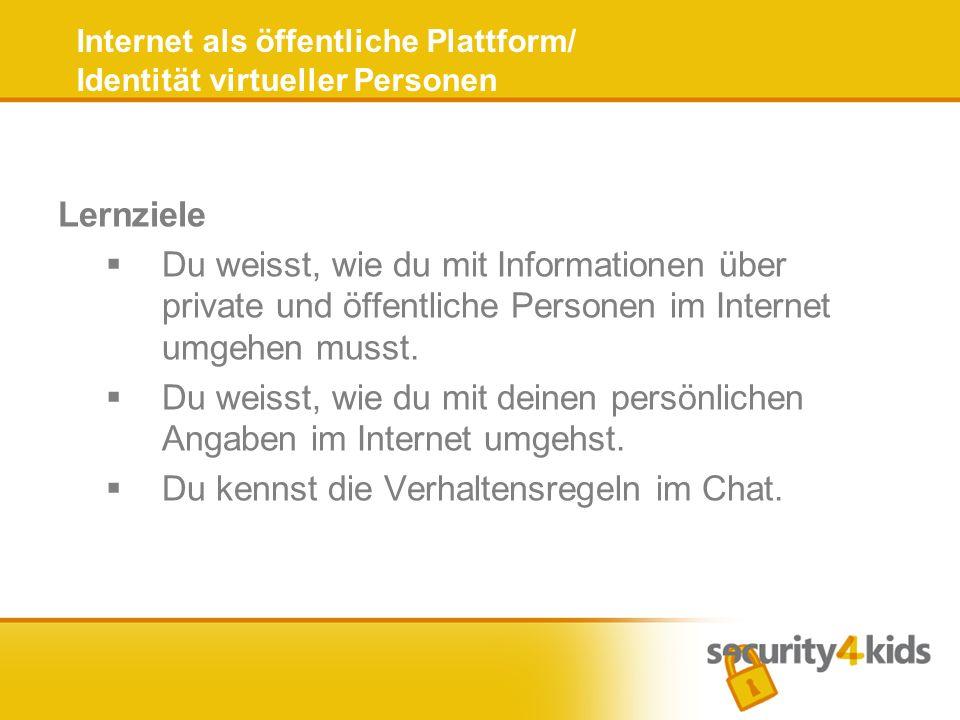Lernziele Du weisst, wie du mit Informationen über private und öffentliche Personen im Internet umgehen musst.