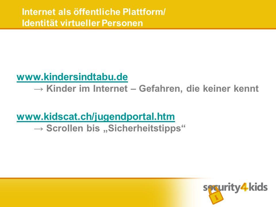Internet als öffentliche Plattform/ Identität virtueller Personen www.kindersindtabu.de www.kindersindtabu.de Kinder im Internet – Gefahren, die keine