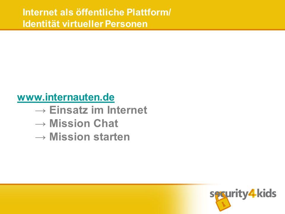 Internet als öffentliche Plattform/ Identität virtueller Personen www.internauten.de www.internauten.de Einsatz im Internet Mission Chat Mission start