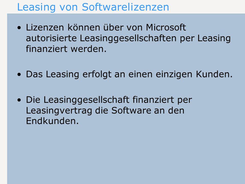 Ende der Leasingvereinbarung Optionen am Ende der Laufzeit: –Verlängerung des Leasingvertrages –Übernahme der Lizenzen durch den Leasingnehmer gegen Entgelt –Rückgabe der Lizenzen an die Leasinggesellschaft