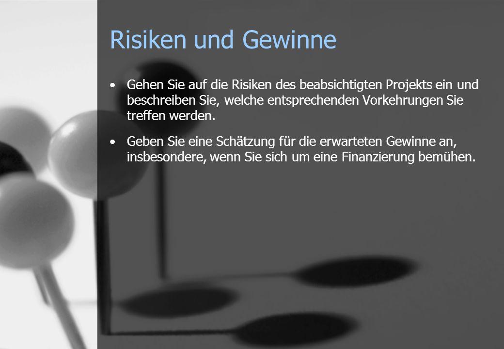Risiken und Gewinne Gehen Sie auf die Risiken des beabsichtigten Projekts ein und beschreiben Sie, welche entsprechenden Vorkehrungen Sie treffen werd