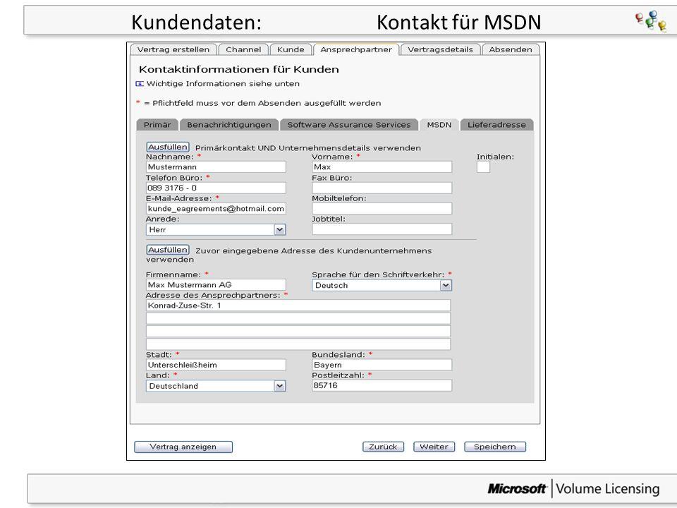 20 Kundendaten: Kontakt für MSDN