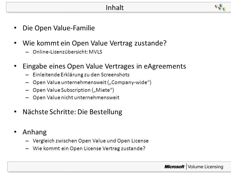 3 Inhalt Die Open Value-Familie Wie kommt ein Open Value Vertrag zustande? – Online-Lizenzübersicht: MVLS Eingabe eines Open Value Vertrages in eAgree