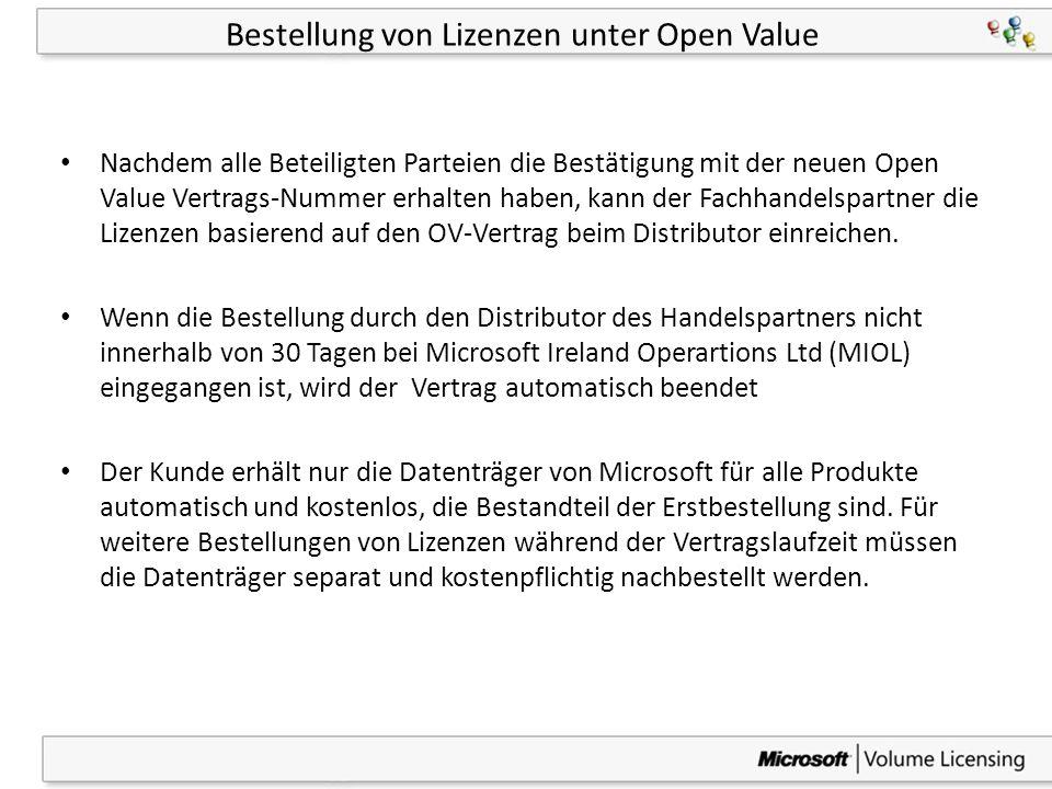 39 Bestellung von Lizenzen unter Open Value Nachdem alle Beteiligten Parteien die Bestätigung mit der neuen Open Value Vertrags-Nummer erhalten haben,