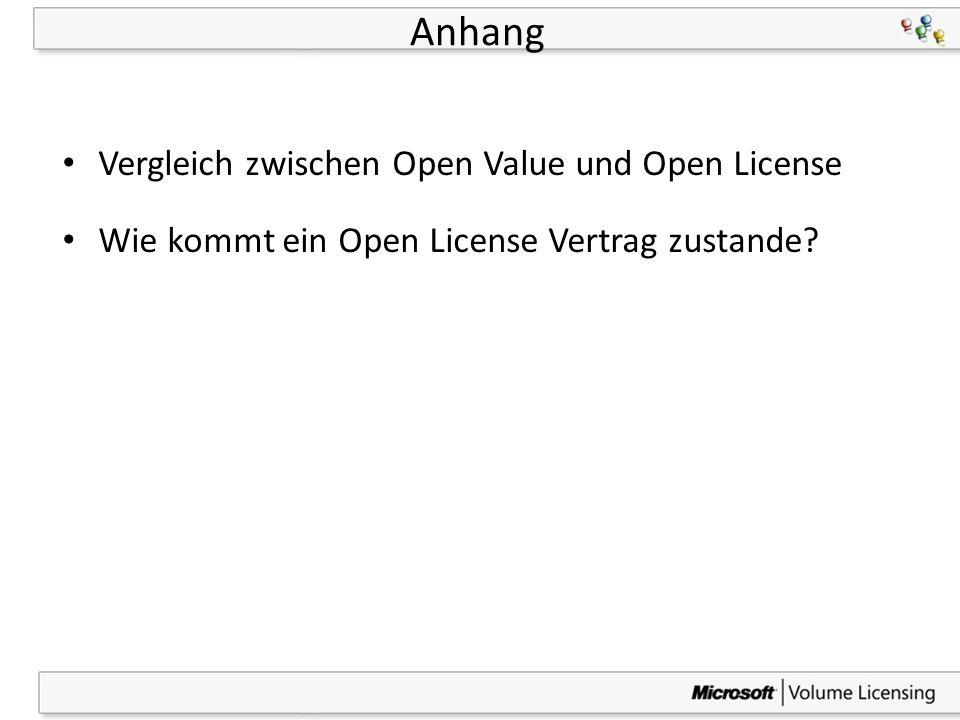41 Anhang Vergleich zwischen Open Value und Open License Wie kommt ein Open License Vertrag zustande?