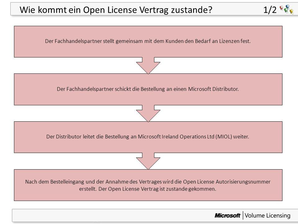 43 Wie kommt ein Open License Vertrag zustande? 1/2 Nach dem Bestelleingang und der Annahme des Vertrages wird die Open License Autorisierungsnummer e