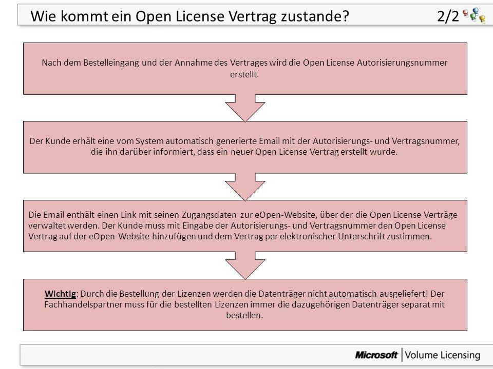 44 Wie kommt ein Open License Vertrag zustande? 2/2 Wichtig: Durch die Bestellung der Lizenzen werden die Datenträger nicht automatisch ausgeliefert!