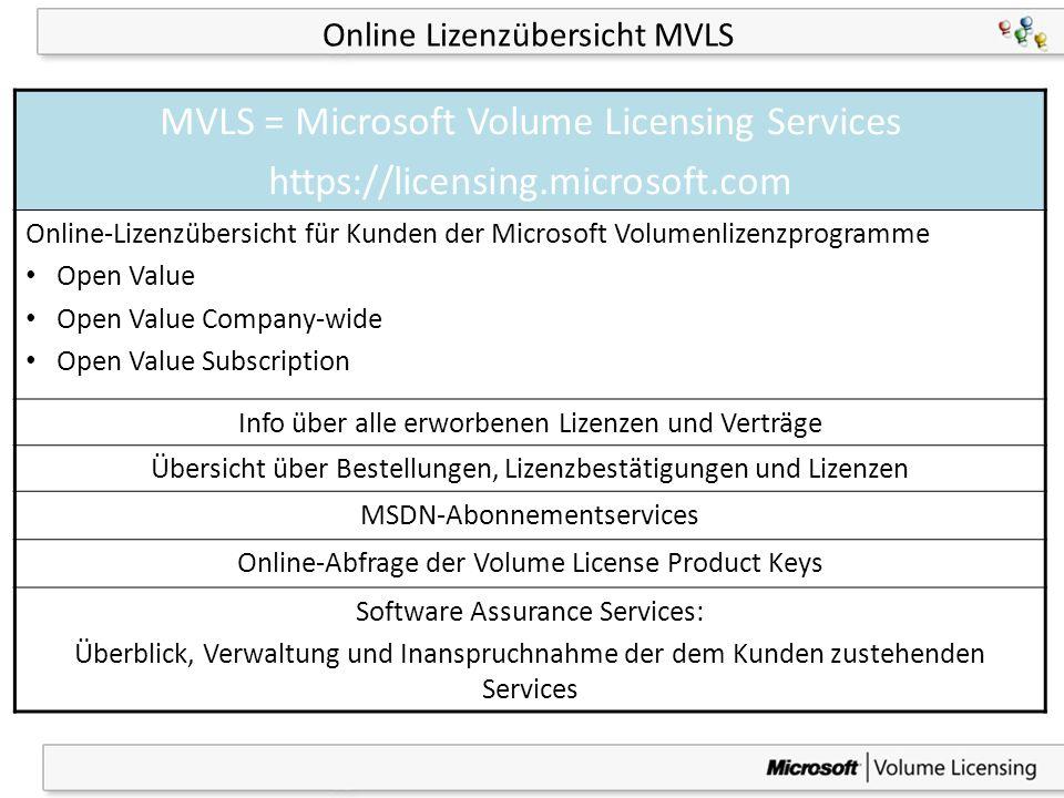 7 Online Lizenzübersicht MVLS MVLS = Microsoft Volume Licensing Services https://licensing.microsoft.com Online-Lizenzübersicht für Kunden der Microso