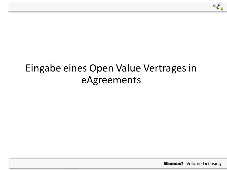 9 Einleitende Erklärung zu den Screenshots Das folgende Beispiel zeigt die Eingabe eines Open Value unternehmensweiten Vertrages Die Eingabemasken sind jedoch für alle drei Open Value-Varianten gleich, mit Ausnahme von – Open Value unternehmensweit (OV Company-wide) und – Open Value Subscription (OVS) nur bei diesen beiden OV-Varianten muss zusätzlich die Eingabe der Plattformen oder der Einzelkomponenten zur unternehmensweiten Standardisierung der Qualifizierten Desktops erfolgen, was bei der nicht unternehmensweiten Option von Open Value (OV) nicht erforderlich ist.
