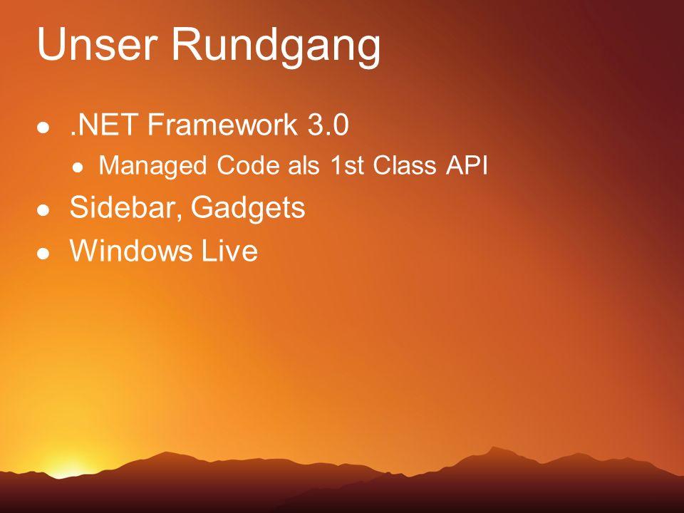 Unser Rundgang.NET Framework 3.0 Managed Code als 1st Class API Sidebar, Gadgets Windows Live