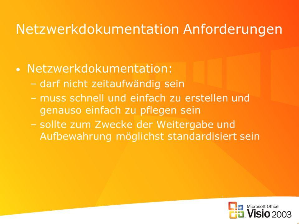 Netzwerkdokumentation Anforderungen Netzwerkdokumentation: –darf nicht zeitaufwändig sein –muss schnell und einfach zu erstellen und genauso einfach z