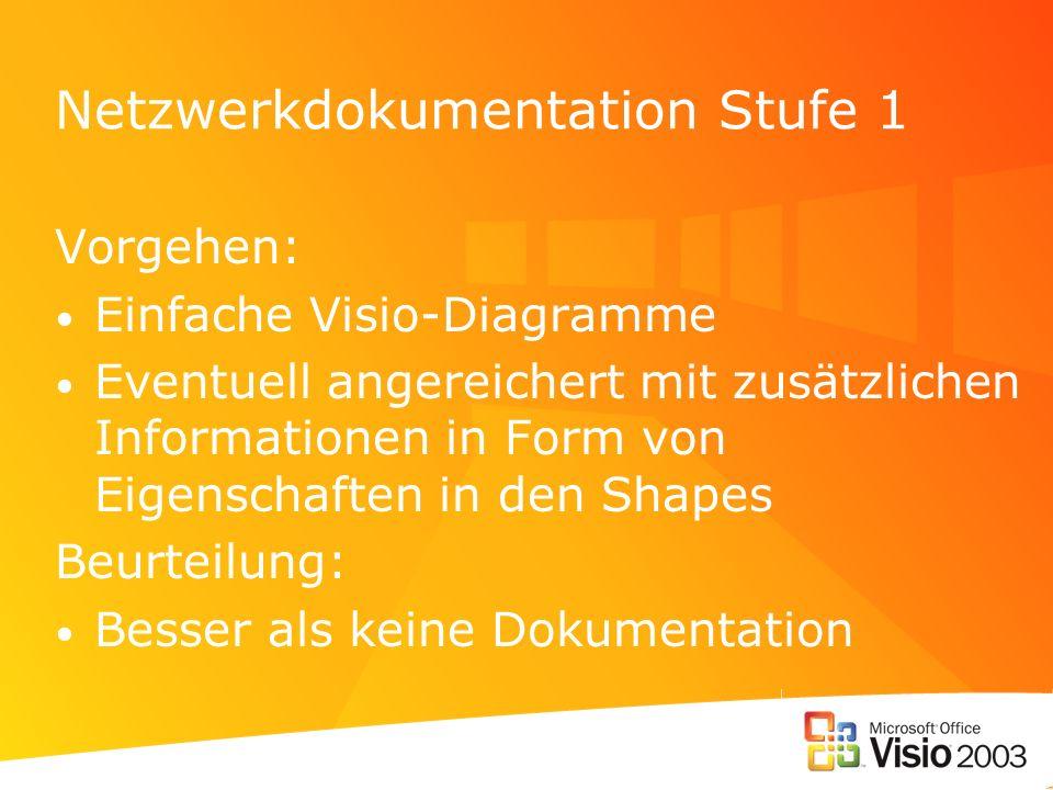Netzwerkdokumentation Stufe 1 Vorgehen: Einfache Visio-Diagramme Eventuell angereichert mit zusätzlichen Informationen in Form von Eigenschaften in de