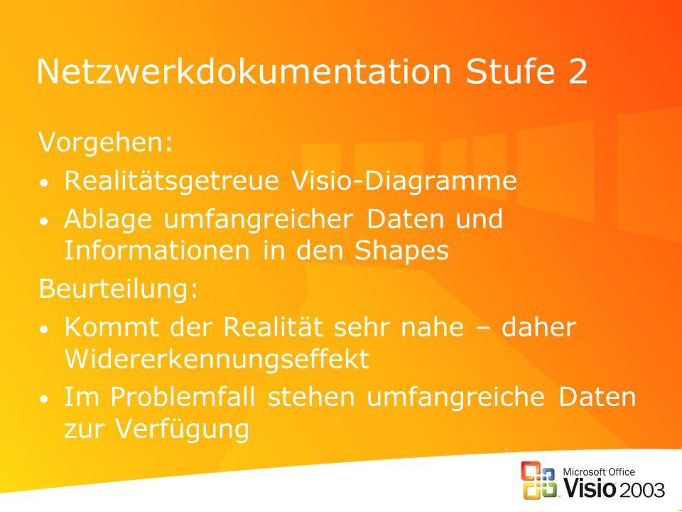 Netzwerkdokumentation Stufe 2 Vorgehen: Realitätsgetreue Visio-Diagramme Ablage umfangreicher Daten und Informationen in den Shapes Beurteilung: Kommt