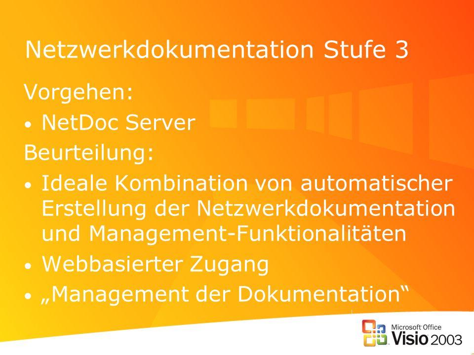 Netzwerkdokumentation Stufe 3 Vorgehen: NetDoc Server Beurteilung: Ideale Kombination von automatischer Erstellung der Netzwerkdokumentation und Manag