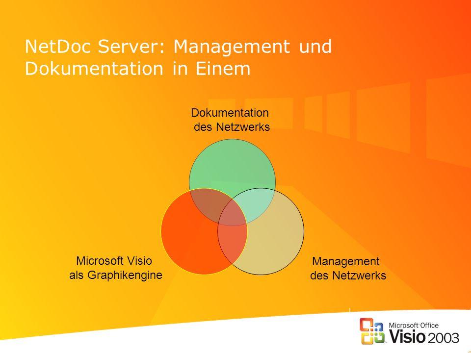NetDoc Server: Management und Dokumentation in Einem Dokumentation des Netzwerks Management des Netzwerks Microsoft Visio als Graphikengine