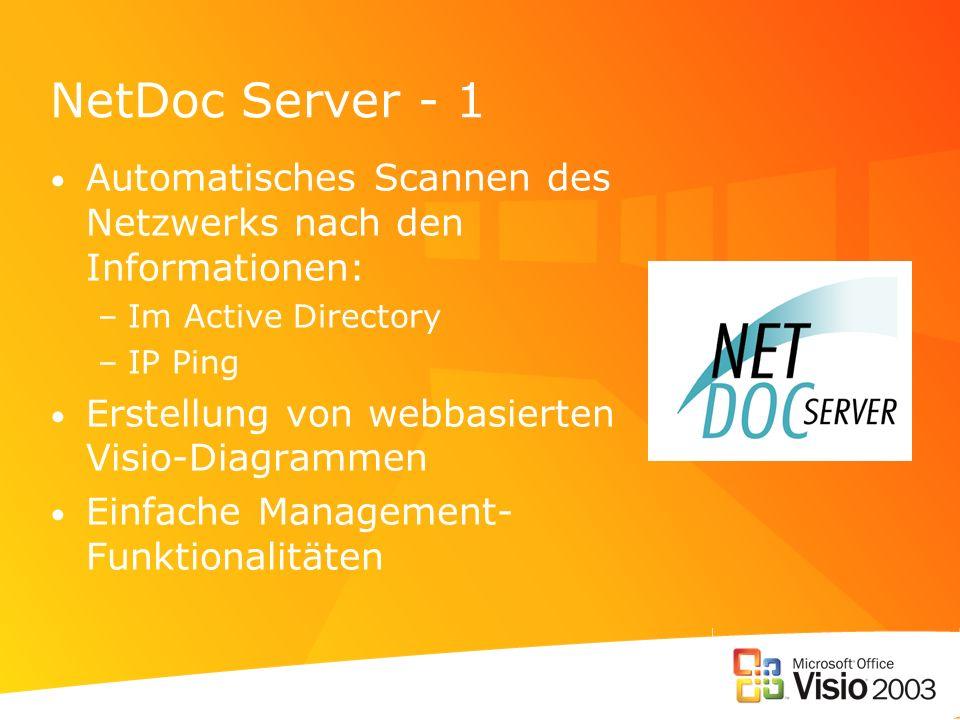 NetDoc Server - 1 Automatisches Scannen des Netzwerks nach den Informationen: –Im Active Directory –IP Ping Erstellung von webbasierten Visio-Diagramm