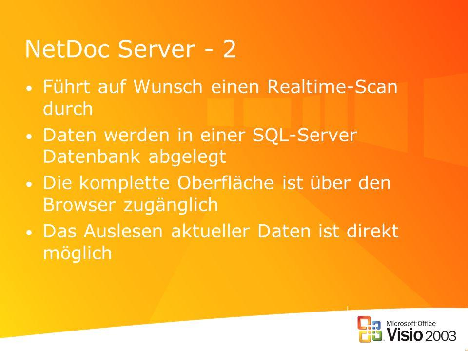 NetDoc Server - 2 Führt auf Wunsch einen Realtime-Scan durch Daten werden in einer SQL-Server Datenbank abgelegt Die komplette Oberfläche ist über den