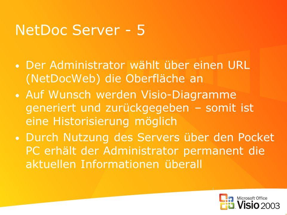NetDoc Server - 5 Der Administrator wählt über einen URL (NetDocWeb) die Oberfläche an Auf Wunsch werden Visio-Diagramme generiert und zurückgegeben –