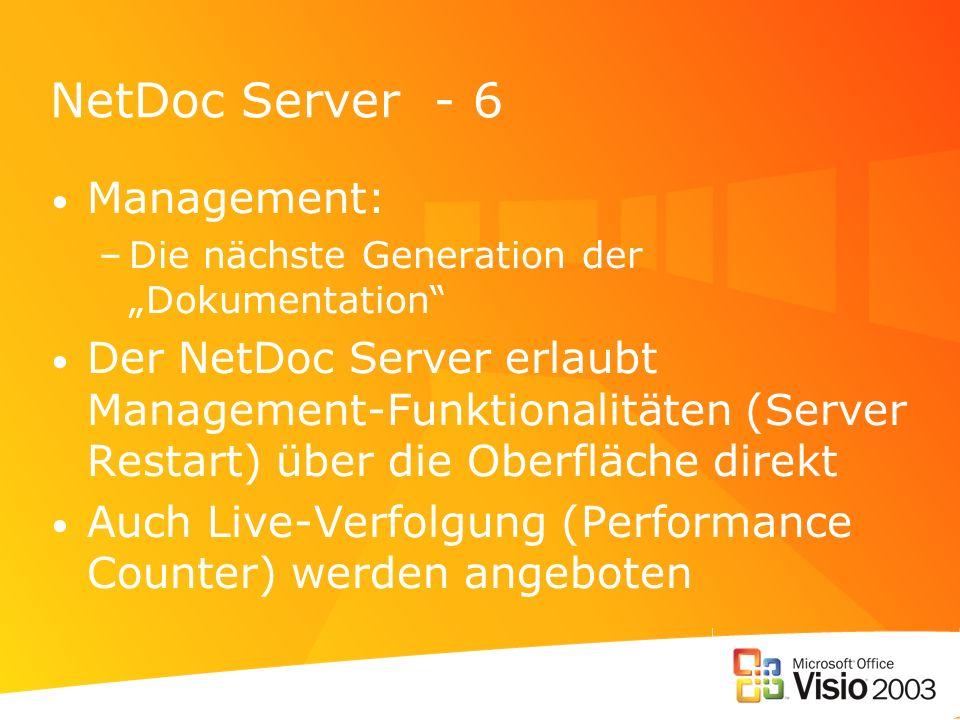 NetDoc Server - 6 Management: –Die nächste Generation der Dokumentation Der NetDoc Server erlaubt Management-Funktionalitäten (Server Restart) über di