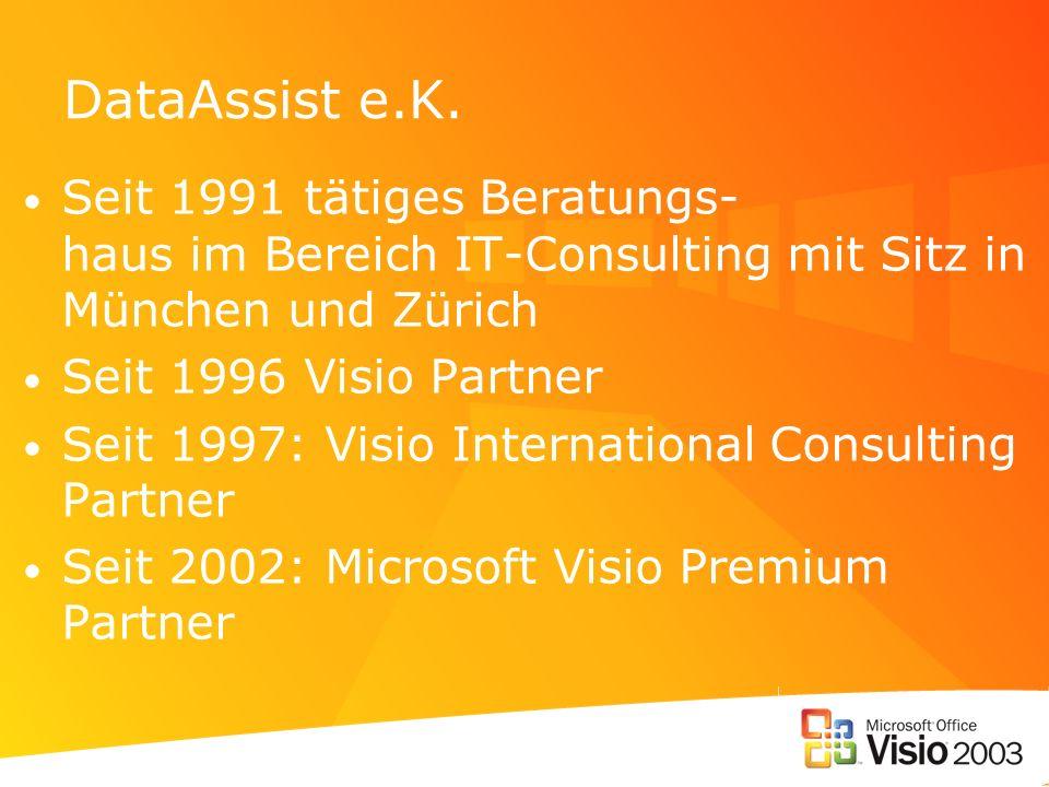 DataAssist e.K. Seit 1991 tätiges Beratungs- haus im Bereich IT-Consulting mit Sitz in München und Zürich Seit 1996 Visio Partner Seit 1997: Visio Int