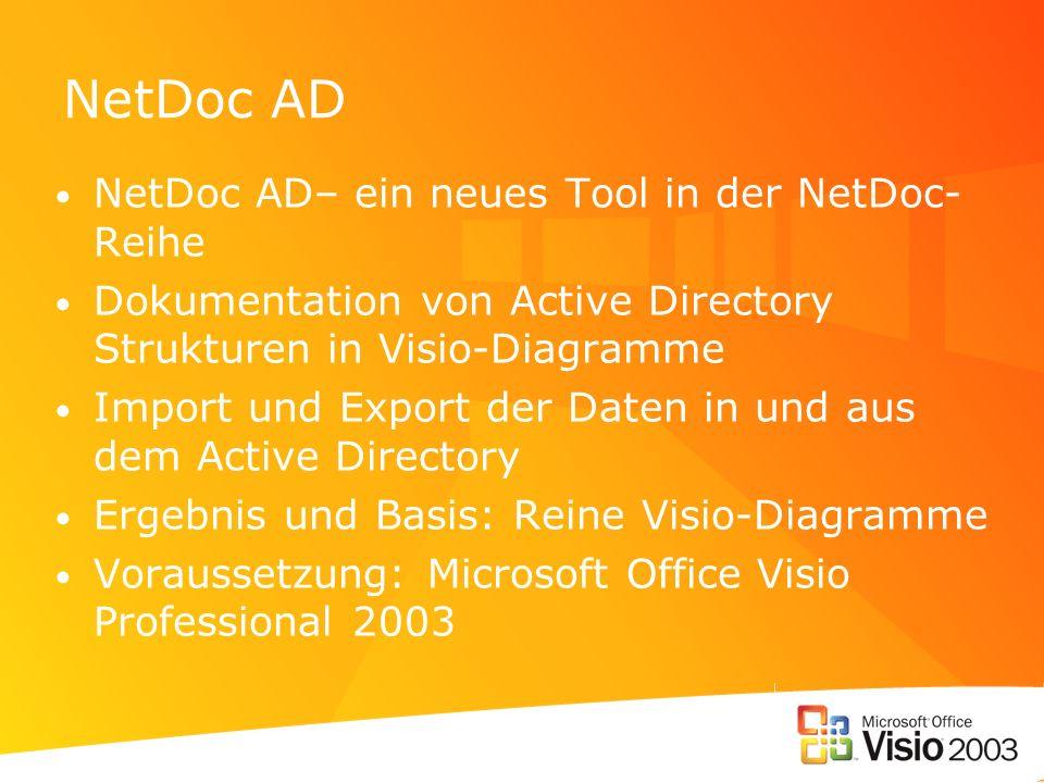 NetDoc AD NetDoc AD– ein neues Tool in der NetDoc- Reihe Dokumentation von Active Directory Strukturen in Visio-Diagramme Import und Export der Daten