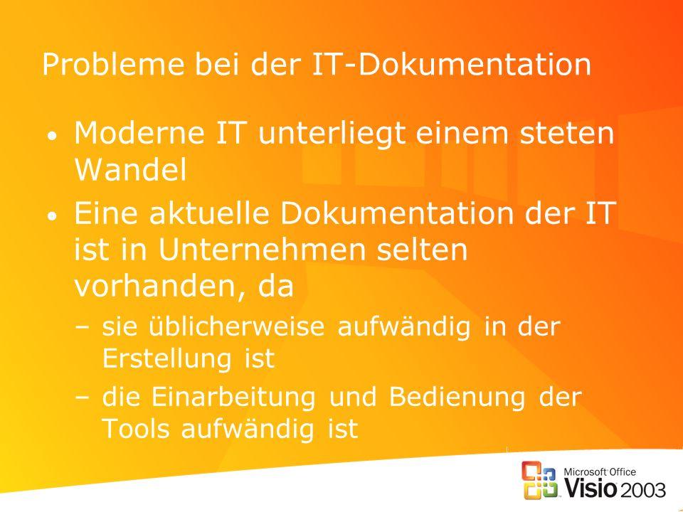 Probleme bei der IT-Dokumentation Moderne IT unterliegt einem steten Wandel Eine aktuelle Dokumentation der IT ist in Unternehmen selten vorhanden, da