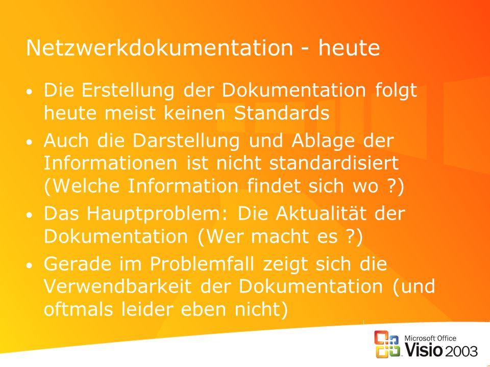 Netzwerkdokumentation Anforderungen Netzwerkdokumentation: –darf nicht zeitaufwändig sein –muss schnell und einfach zu erstellen und genauso einfach zu pflegen sein –sollte zum Zwecke der Weitergabe und Aufbewahrung möglichst standardisiert sein