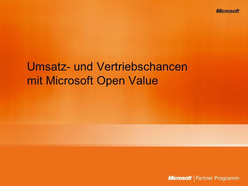 Neue Volumenlizenzprogramm-Familie: Open Value Microsoft Multi-Year Open Volume Microsoft Multi-Year Open Enterprise Microsoft Open Subscription License Microsoft Open Value Microsoft Open Value Company- Wide Microsoft Open Value Subscription Open Value Seit 3.