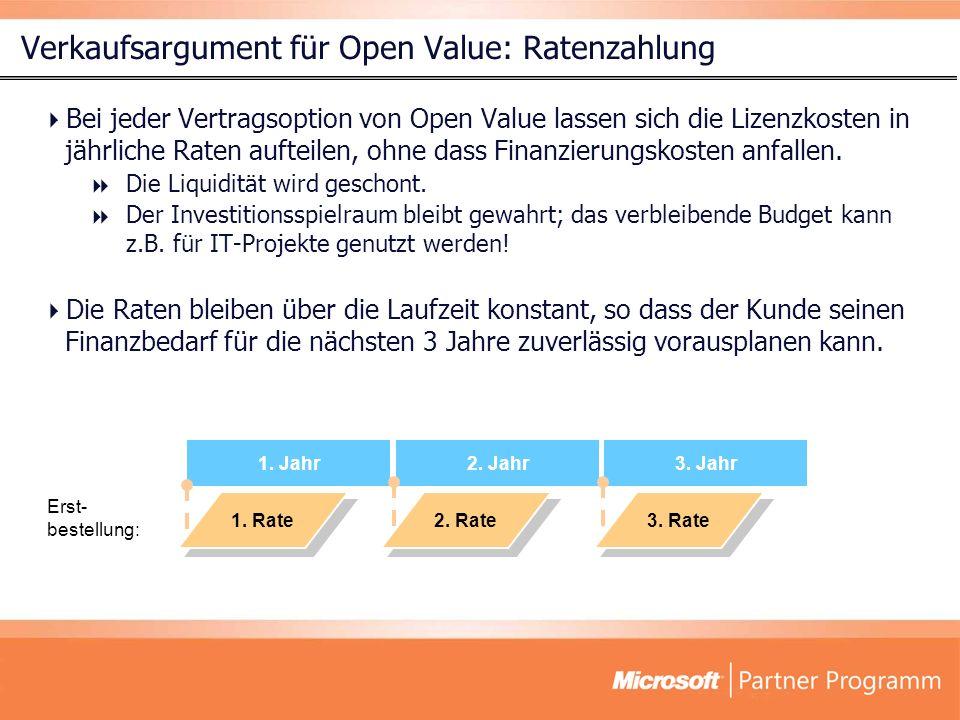 Verkaufsargument für Open Value: Ratenzahlung Bei jeder Vertragsoption von Open Value lassen sich die Lizenzkosten in jährliche Raten aufteilen, ohne dass Finanzierungskosten anfallen.