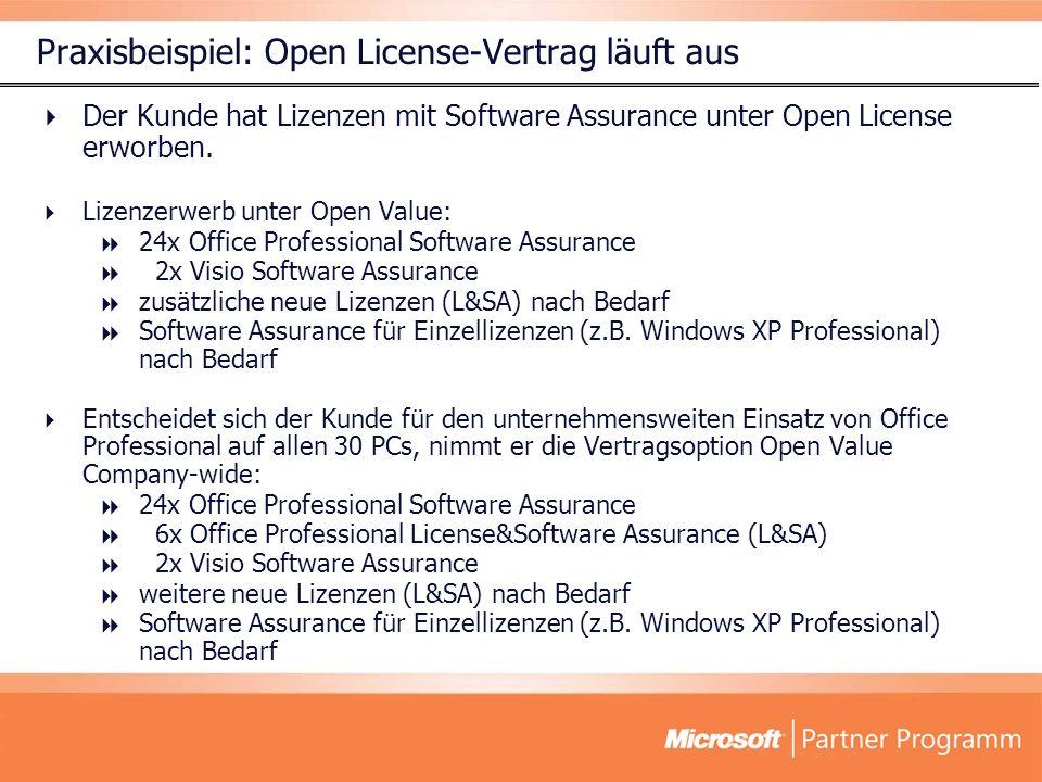 Der Kunde hat Lizenzen mit Software Assurance unter Open License erworben. Lizenzerwerb unter Open Value: 24x Office Professional Software Assurance 2