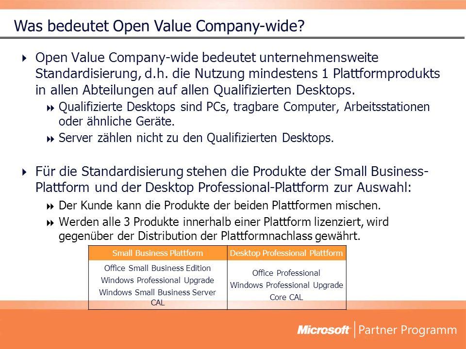 Open Value Company-wide bedeutet unternehmensweite Standardisierung, d.h. die Nutzung mindestens 1 Plattformprodukts in allen Abteilungen auf allen Qu