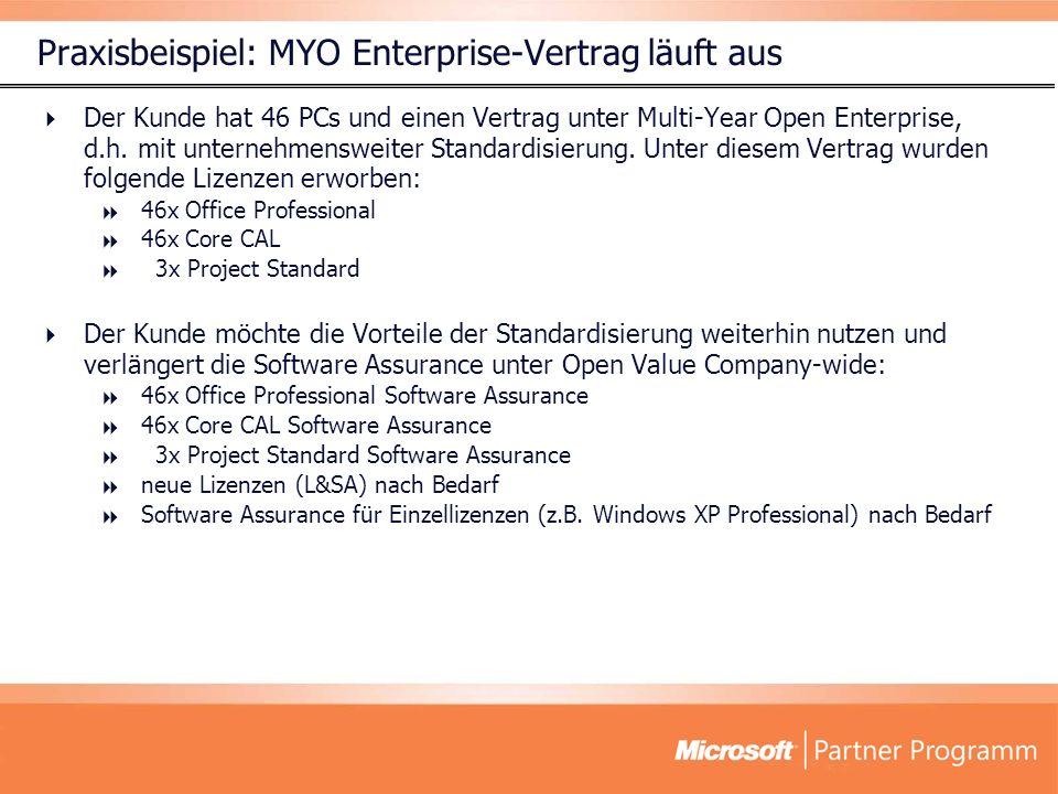 Der Kunde hat 46 PCs und einen Vertrag unter Multi-Year Open Enterprise, d.h.