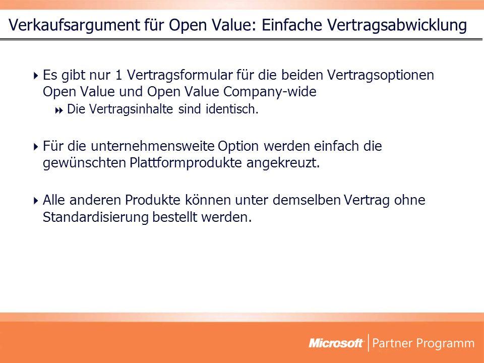 Verkaufsargument für Open Value: Einfache Vertragsabwicklung Es gibt nur 1 Vertragsformular für die beiden Vertragsoptionen Open Value und Open Value