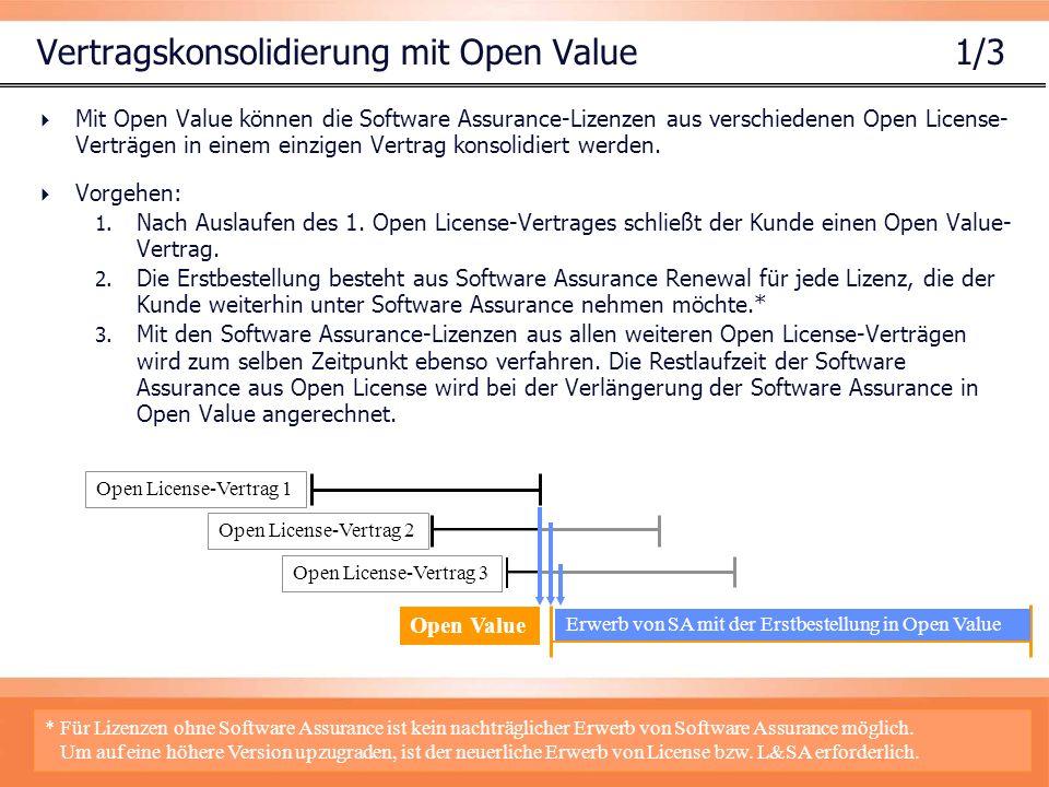 Vertragskonsolidierung mit Open Value 1/3 Mit Open Value können die Software Assurance-Lizenzen aus verschiedenen Open License- Verträgen in einem einzigen Vertrag konsolidiert werden.