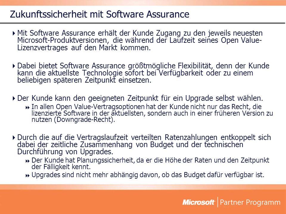 Zukunftssicherheit mit Software Assurance Mit Software Assurance erhält der Kunde Zugang zu den jeweils neuesten Microsoft-Produktversionen, die während der Laufzeit seines Open Value- Lizenzvertrages auf den Markt kommen.