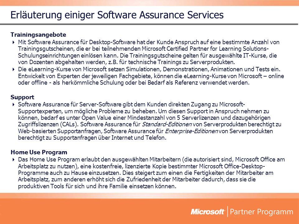 Erläuterung einiger Software Assurance Services Trainingsangebote Mit Software Assurance für Desktop-Software hat der Kunde Anspruch auf eine bestimmte Anzahl von Trainingsgutscheinen, die er bei teilnehmenden Microsoft Certified Partner for Learning Solutions- Schulungseinrichtungen einlösen kann.