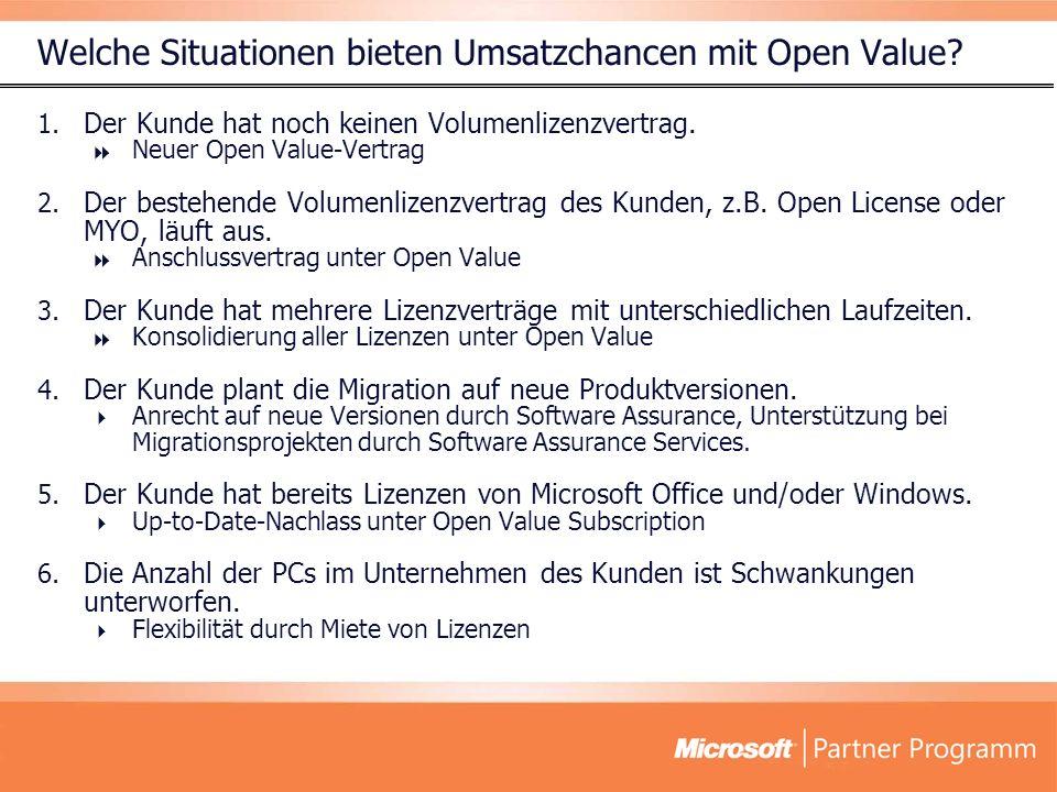 Welche Situationen bieten Umsatzchancen mit Open Value? 1. Der Kunde hat noch keinen Volumenlizenzvertrag. Neuer Open Value-Vertrag 2. Der bestehende