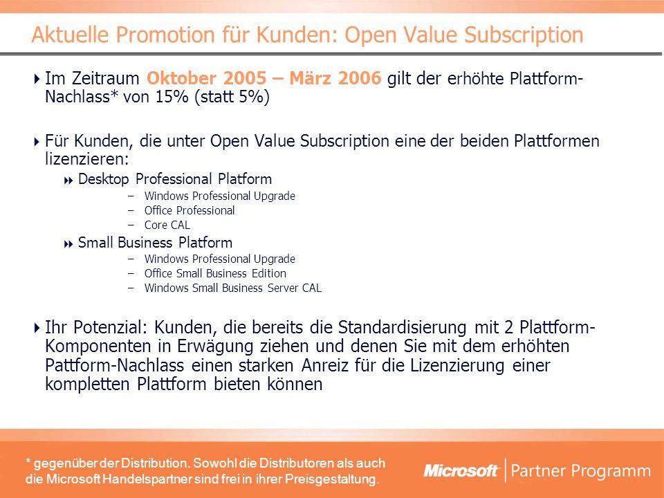 Im Zeitraum Oktober 2005 – März 2006 gilt der e rhöhte Plattform- Nachlass* von 15% (statt 5%) Für Kunden, die unter Open Value Subscription eine der