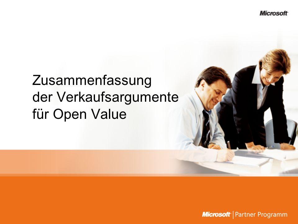 Zusammenfassung der Verkaufsargumente für Open Value